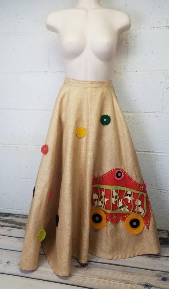 Vintage 50s Circle Skirt Circus Skirt Poodle Skirt