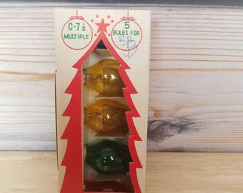 1 Box Timco C 7 1/2  Multiple Type Candelabra Base Bulbs Vintage Glass Christmas Light Replacement Christmas Bulbs Multicolor 5 Bulbs