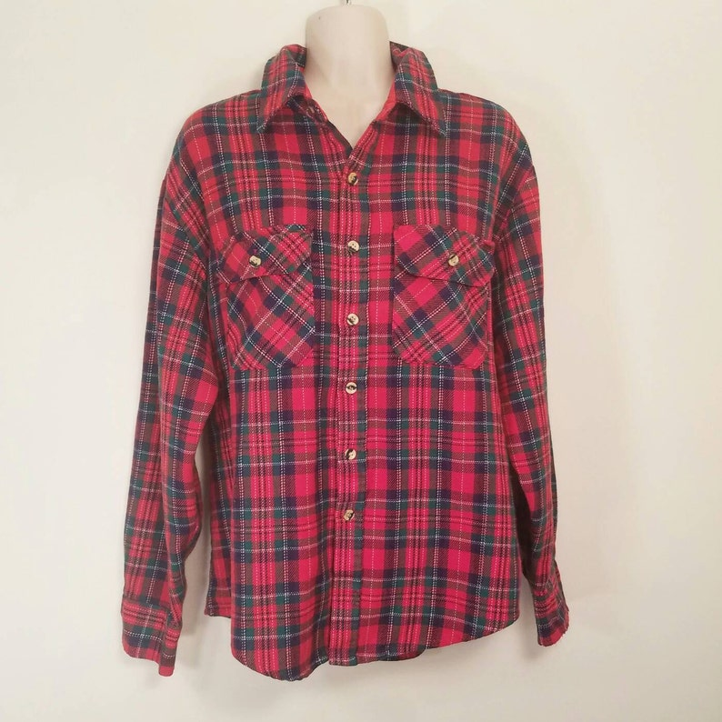Vintage 70s 80s Sears Men/'s Store Red Button Front Plaid Flannel Shirt