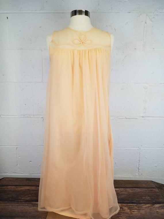 1f6dc937d Vintage 1960s Orange Peach Sheer Nylon Chiffon Nightgown