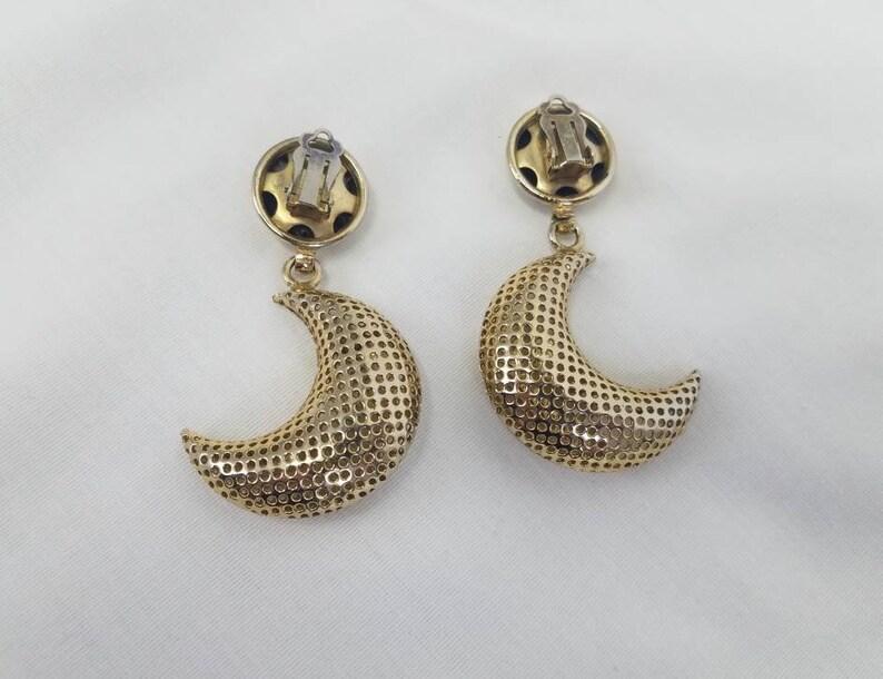Vintage Massive Metal Mesh 3D Crescent Moon  Dangle Clip On Earrings No Pierce Celestial
