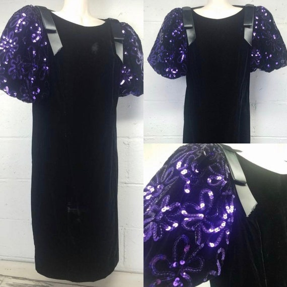 Vintage 80s 90s Velvet Prom Dress Bell Sleeves Bal