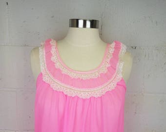 Vintage Hot Pink Sheer Nylon Nightgown with Pleated Bodice and Lace Trim Vintage Lingerie Pin Up Sissy Valentine's Day