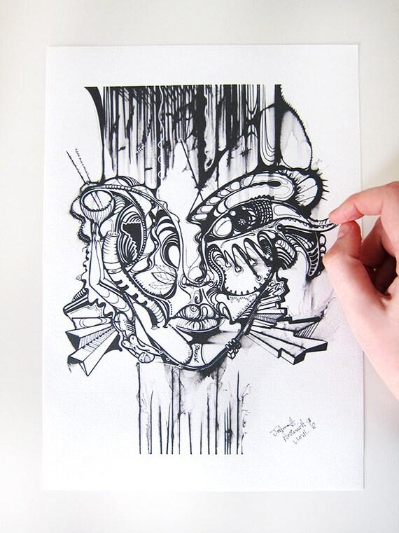 Face A Lencre Art De Tatouage Visage De Lart Abstrait Etsy