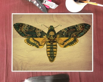 Wood Effect Print, Death's Head Hawk Moth, Large Moth, Moth Print, Gothic Art Print, Skull Art, Gifts for Goths