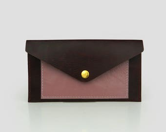 Leather Wallet, Clutch Wallet,  genuine leather