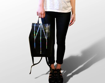 "Black, Holographic Backpack ""Simetria"", Rucksack"