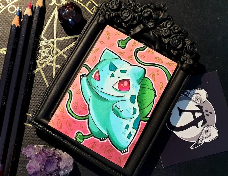 Bulbasaur Pokemon Hand Drawn Sketch Card Aceo
