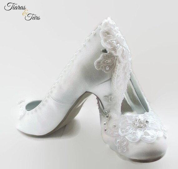 08ac78c21b3 White satin and lace wedding shoes