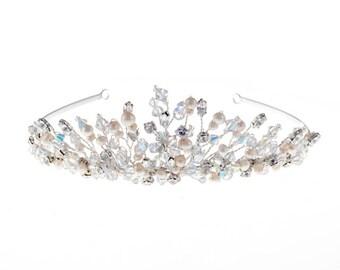 Princess crystal and freshwater pearl wedding tiara, Bridal tiara, wedding tiara, princess tiara,classic wedding tiara