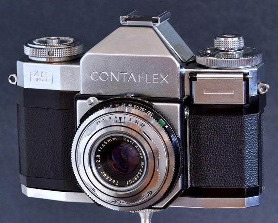 Zeiss Ikon Contaflex II w Carl Zeiss 45mm f/2 8 Tessar Prime Lens 35mm SLR  Camera MiNTY !
