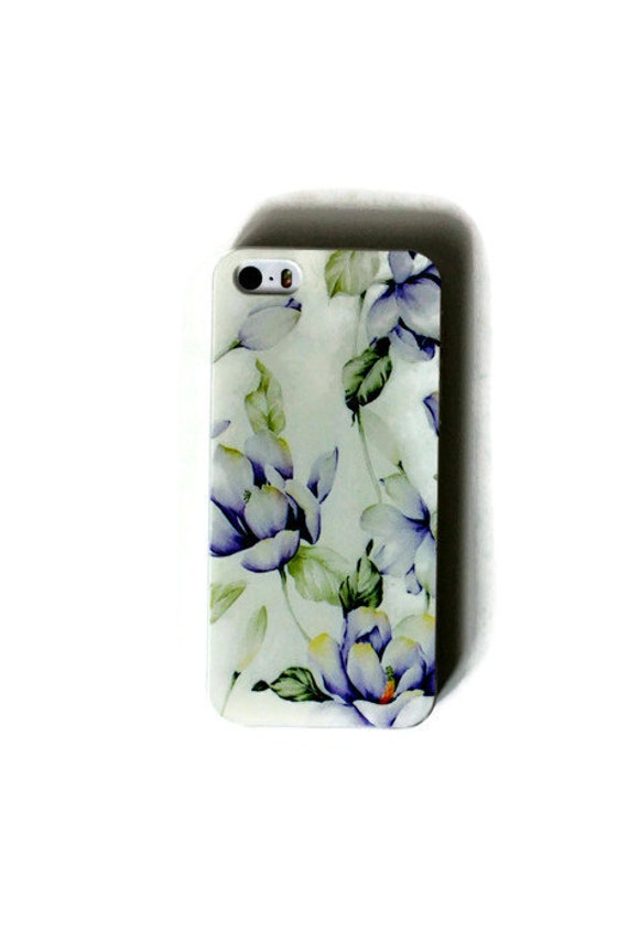 Bleu violet fleurs, iPhone 5 s cas