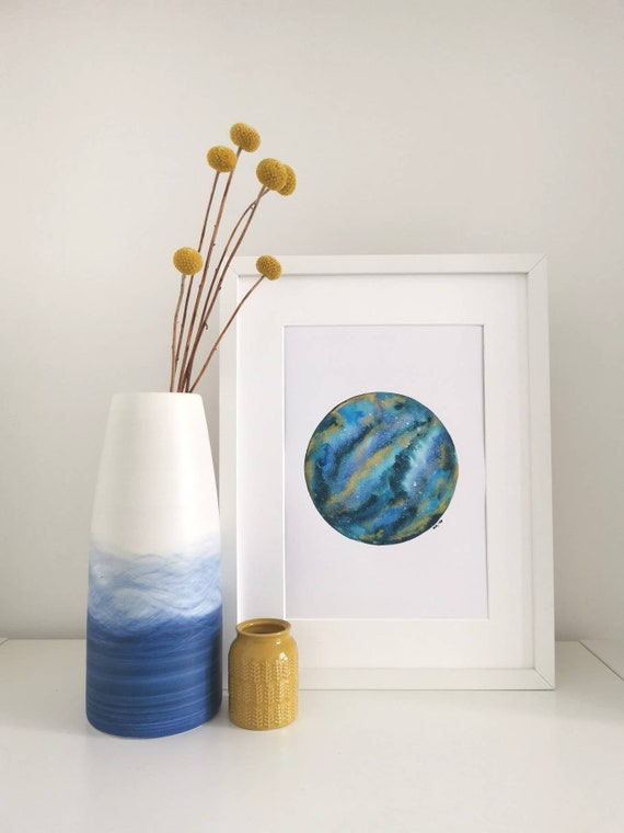 GALAXY PRINT - blue and gold pigment galaxy