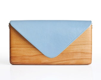 Unique Wooden Bag with Blue Leather Handcrafted | Wood and Leather Clutch Bag | Gift for Women | Handmade | Lemnia