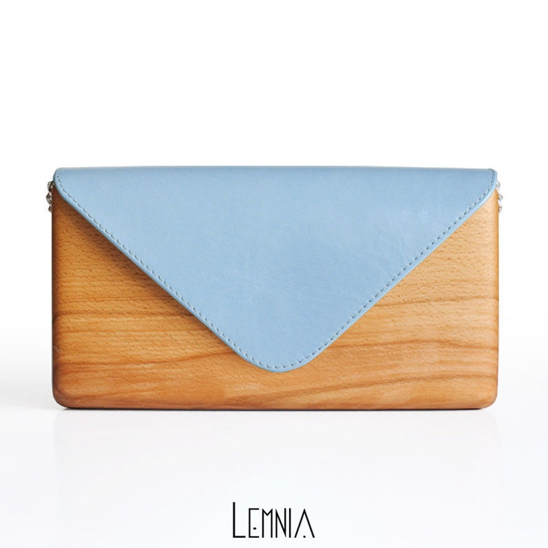 Unique Wooden Bag with Blue Leather Handcrafted  Wood and image 1