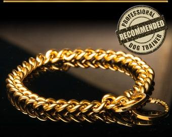 "BOSS PAWZ Gold Stainless Steel Welded Choke Chain Slip Dog Collar Small Breeds (14"")(16"")"