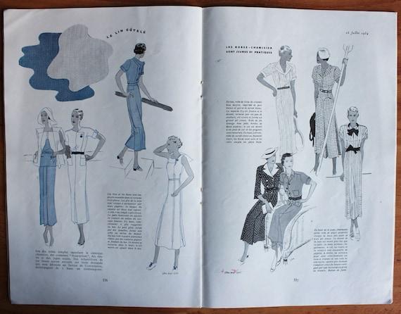 Weinlese Französisch Mode-Magazin, Le Jardin Des Modi, 15. Juli 1934,  Handwerk liefern. Sammlerstücke Papier Ephemera
