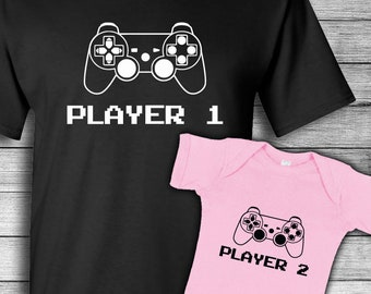60b45739 Father Daughter Matching | Baby's First Fathers Day | Video Game | Player 1  Player 2 | Shirt Set | Matching Daddy Daughter | New Dad