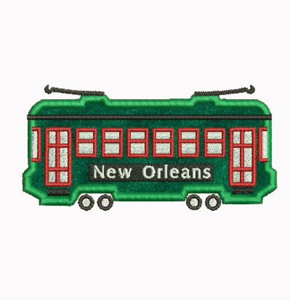 New Orleans Design: New Orleans Streetcar Applique Machine Embroidery Design
