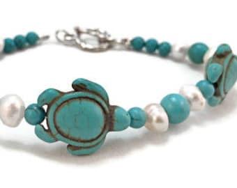 Turtle Bracelet - Sea Turtle Bracelet - Gift For Her - Turquoise Bracelet - Turquoise Turtle Bracelet  - Gifts Under 25 - Beach Jewelry