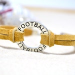 Leather Football Charm Bracelet - Leather Football Bracelet - Football Jewelry - Football Affirmation Circle - Sports Jewelry - Unisex Gift