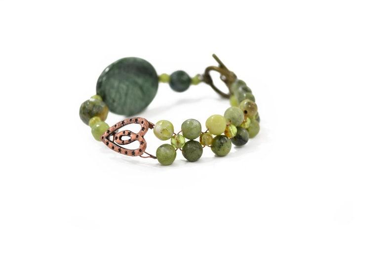 Jade Bracelet  Gemstone Bracelet  Jade Statement Bracelet  image 0