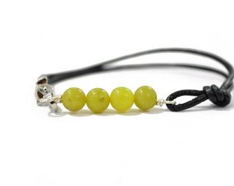 Jade Bracelet - Jade Bar Bracelet - Gemstone Bracelets - Leather Bracelet - Boho Leather Bracelet - Boho Beaded Bracelet - Gifts Under 15