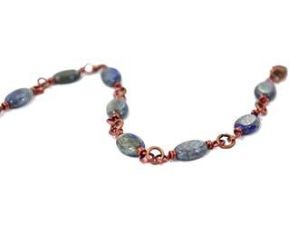 Lapis Bracelet - Lapis Lazuli Bracelet - Chain Link Bracelet - Copper Jewelry - Gemstone Bracelet - Blue Bracelet - Lapis Jewelry