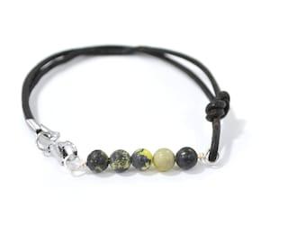 Yellow Turquoise Bracelet, Gemstone Bracelet, Bar Bracelet, Beaded Bracelet, Leather Bracelet, Serpentine Bracelet, Gifts under 15
