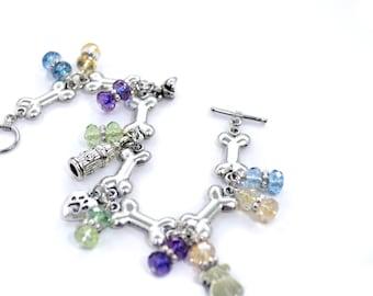 Dog Charm Bracelet - Paw Print Bracelet - Dog Bone Bracelet - Dog Lover Gift - Dog Lover Bracelet - Pet Owner Jewelry - Dog Themed Bracelet
