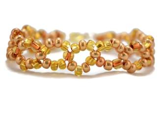 Gold Bracelet - Gold Seed Bead Bracelet - Seed Bead Bracelets - Gold Wrap Bracelet - Boho Bracelet - Bohemian Bracelet - Gifts Under 20