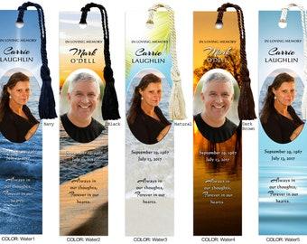 Personalized Laminated Custom Memorial Photo Bookmark (book mark) - In Memory of, Funeral, Celebration of Life, Sympathy Gift, #MPB1