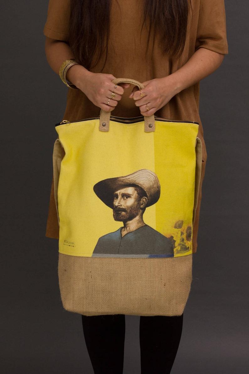 van gogh print Printed canvas bag van gogh bag  Canvas tote image 0