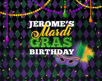12 Favor Tags Mardi Gras Fat Tuesday Gold Party Packages Banners Green /& Purple Happy Birthday Cupcake Toppers Door Signs Available