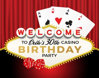 Custom Casino Las Vegas Birthday Celebration Backdrop Banner Printed Background Photo Booth Prop Any Text Color
