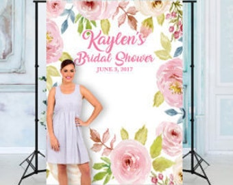 custom floral bridal shower backdrop banner background photo booth many sizes materials available engagement wedding shower any text
