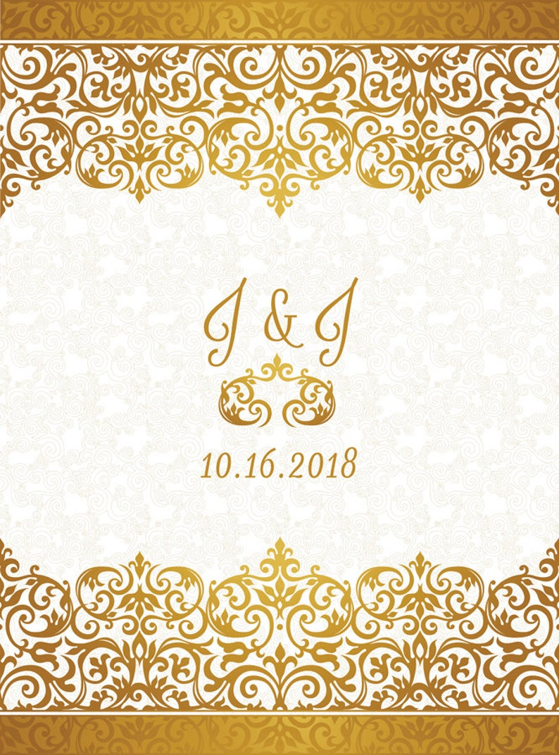Any TextAny Color CUSTOM Personalized Wedding Backdrop Gold Decor Background Banner Photo Booth Bridal Shower Birthday