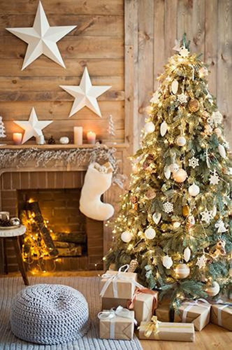 Multiple Sizes Available Rustic Christmas Backdrop Country Cabin  Holiday Drop Party Background  Photo booth Prop  Vinyl Tree presents