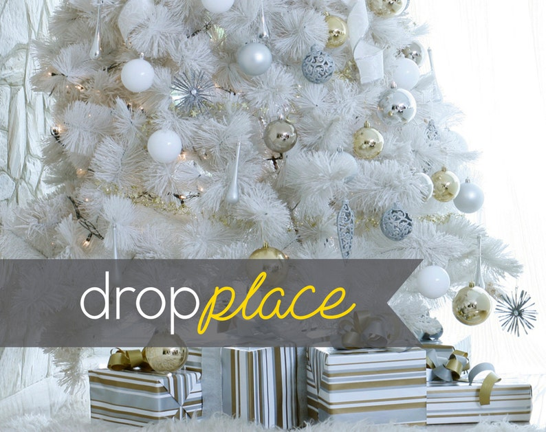 Multiple Sizes Available White Christmas Backdrop Winter Wonderland  Holiday Drop Party Background  Photo booth Prop  Vinyl Tree presents