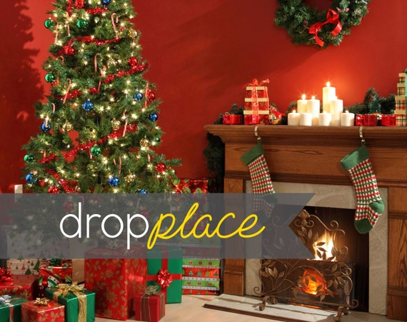 Red Christmas Backdrop Holiday Tree Drop Party Background Photo Booth Prop Photography Room With Fireplace Multiple Sizes Available