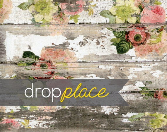 Backdrop Floor Vintage Blues and Greens Colorwashed Wood with Painted Flowers Plan Material and Size Options Available
