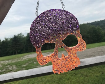 Chunky Glitter Skull Wall Art - Resin Wall Hanging - OOAK - Purple/Orange