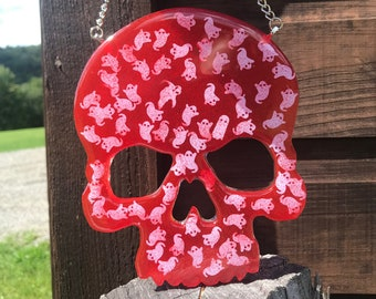 Glitter Skull Wall Art - Resin Wall Hanging - OOAK - Ghostly Red