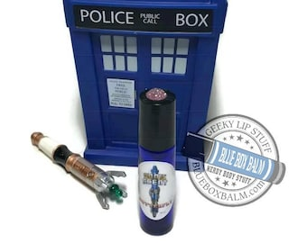"Sonic Scent- BUTTERFLY - ""Martha Jones"" Doctor Who Inspired Body Scent - Vanilla Chrysanthemum Fragrance in a Blue Glass Roller Bottle"