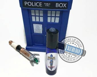 """Sonic Scent - BLISS - """"Amy Pond"""" Doctor Who Inspired Body Scent -A Cherry, Coconut, Almond, Vanilla and Sugar Fragrance -Glass Roller Bottle"""