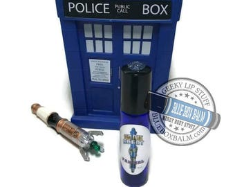 "Sonic Scent - FANGIRL - ""Osgood"" Doctor Who Inspired Body Scent - Chocolate Orchid Fragrance in a Blue Glass Roller Bottle"