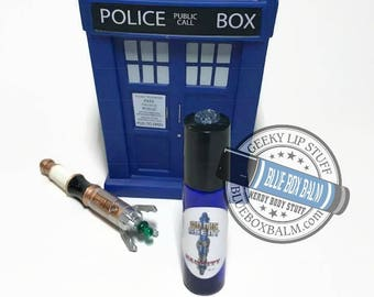 """Sonic Scent - NAUGHTY - """"Ms. Delphox"""" Doctor Who Inspired Body Scent - A complex Sweet & Floral Fragrance in a Blue Glass Roller Bottle"""