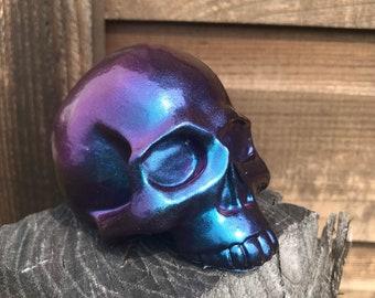 Color Shifting Skully Skull - Resin Skull Paperweight - OOAK