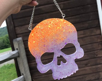 Glitter Skull Wall Art - Resin Wall Hanging - OOAK Orange/Purple