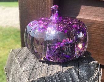 Purple Flakes Resin 3D Pumpkin - OOAK